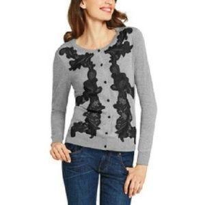 Cabi style #100 gray sweater black lace medium